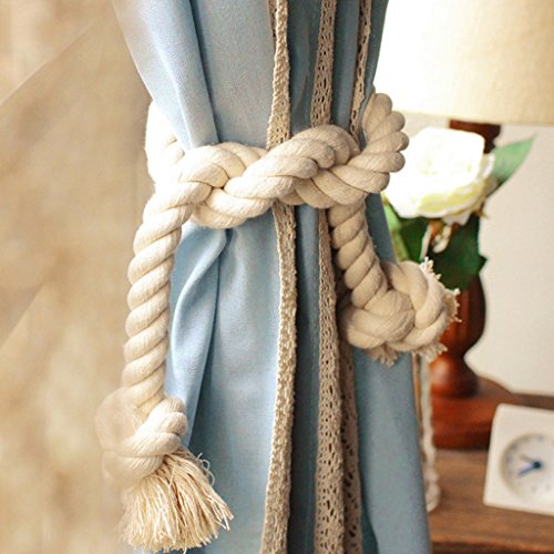 2x Amerikanisches Land Mode Baumwolle Dicke Große Kordel Vorhang Gardinen Raffhalter 100cm