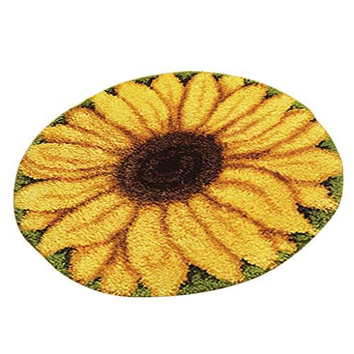 Sharplace Knüpfset Teppich Erwachsene, Knüpfteppich zum Selberknüpfen 50x50 cm, Teppich Latch Hook Kit für Kinder und Anfänger - Sonnenblume
