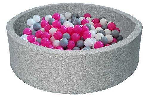 Piscina infantil para ninos de bolas pelotas 150 piezas (Colores de bolas: blanco, rosa, gris)