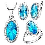 Epinki, Chapado en Platino Moda Joya Juego Colgante Collar Anillos Pendientes Oval Azul Corazón Zircón El Tamaño 17