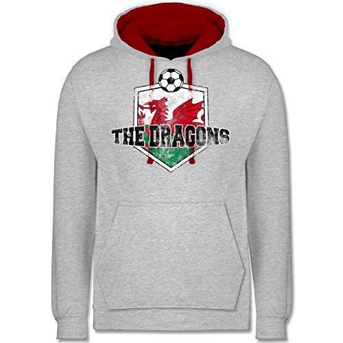 Fußball - Wales- The Dragons Vintage - Kontrast Hoodie Grau Meliert/Rot