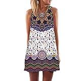 Elecenty Damen Ärmellos Sommerkleid Minikleid Strandkleid Partykleid Rundhals Rock Mädchen Blumen Drucken Kleider Frauen Mode Kleid Kurz Hemdkleid Blusekleid Kleidung (2XL, Lila A)