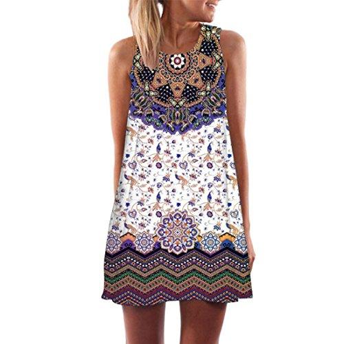 Elecenty Damen Ärmellos Sommerkleid Minikleid Strandkleid Partykleid Rundhals Rock Mädchen Blumen Drucken Kleider Frauen Mode Kleid Kurz Hemdkleid Blusekleid Kleidung (M, Lila A)