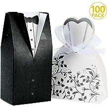Foonii® 100pcs Cajas de Caramelos Cajas de Regalo (50pcs Novia + 50pcs Novio)