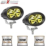 """AllExtreme 4"""" 20W 3000K Led Driving Light Work Lamp Auxiliary Flood Beam Bulb with Cree 20w Chips Motorcycle Universal for Cars-Yellow (Pack of 2)"""