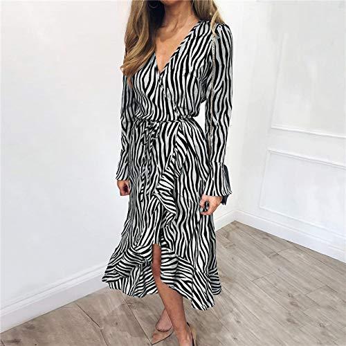 HWTP Kleid - Zebra Print Beach Chiffon Freizeitkleid Langarm V-Ausschnitt Rüschen Elegantes Kleid Abendkleid,C,XL -