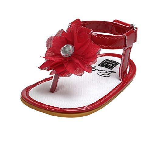 Sommer Prinzessin Monate Mädchen Sole 0 Rot Weiches 18 Blumen Sandalen Babyschuhe Miyasudy Zehentrenner w1PtII