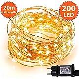 Weihnachtslichterkette 200 LED-Weihnachtslichter für den Innenbereich, warmweiße Micro-Lichterketten - sicheres Niederspannungsnetzteil mit Strom - 20 m Beleuchtete Länge Kupferkabel
