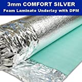 Comfort Silver 3mm Laminate Wood Floor Underlay with Damp Proof Membrane - 1 Roll 15m2 - Novostrat