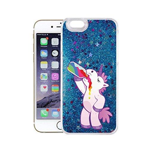 finoo | iPhone 7 Plus Flüssige Liquid Blaue Glitzer Bling Bling Handy-Hülle | Rundum Silikon Schutz-hülle + Muster | Weicher TPU Bumper Case Cover | Einhorn Einhorn Alkohol