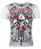 T-Shirt - Skull - Totenkopf - Empire State of - mit Strass Steinen - in Verschiedenen Farben (L, weiß)