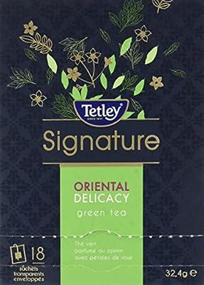 Tetley Boîte de 18 Sachets Enveloppes Oriental Delicacy, Thé Vert Parfumé au Jasmin