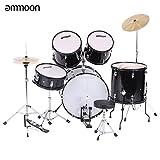 ammoon 5-teilig komplett-Kit für Erwachsene Drum Set Drums Percussion Musikinstrument mit Becken Drumsticks steht verstellbar Hocker schwarz