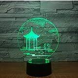 Regalo di festa Antico padiglione Lampada da tavolo 3D Lampada da tavolo a 7 colori Cambio lampada da tavolo Lampada 3D Novità Luci notturne a led Luce a led Regalo di San Valentino