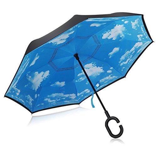TOPKing Doppio strato Cielo blu Inverso rovesciato Ombrello All'aperto Impermeabile Ombrello pioggia (cielo blu)