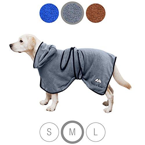 Bella & Balu Hundebademantel aus Mikrofaser – Saugfähiger Hunde Bademantel zum Trocknen nach dem Baden, Schwimmen oder Spaziergang im Regen (M   Grau)