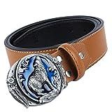Baoblaze 1 Pieza Cinturón Ajustable Retro de Cuero de Fibra Universal para Hombre Mujer Jeans...