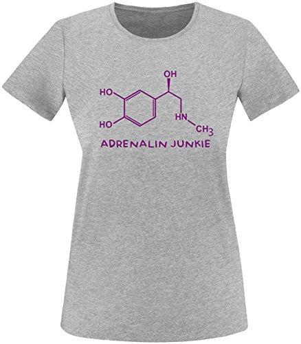 EZYshirt® Adrenalin Junkie Damen Rundhals T-Shirt Grau/Violett