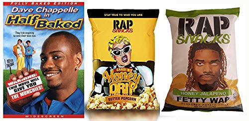 This Movie Will Give You The Munchies RAP Snack Pack: Half Baked & Rap Snack 2 Pack- Fetty Wap Honey Jalapeno Potato Chips/ Cardi Habanero Honey Drip Butter Popcorn 2.75 oz LIMITED EDITION SNACK PACKS