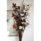 Bouquet de fleurs séchées artificielles de 90cm de hauteur (marron et crème)