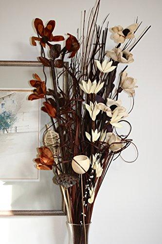 Ramo de flores secas y artificiales, 90cm de largo y listo para colocar en florero, de color marrón y crema