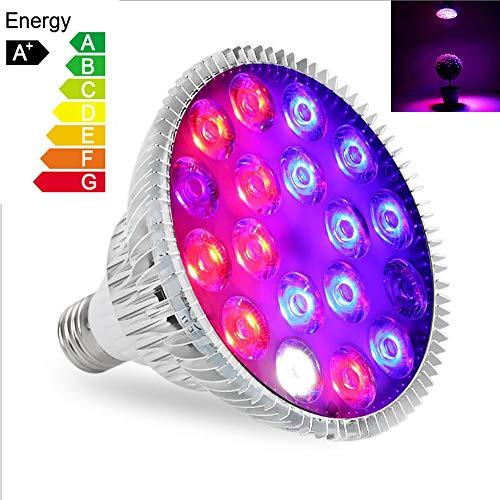 WIVION LED Pflanzenlampe, 54W E27 18 LEDs Vollspektrum Pflanzenlicht Led Grow Light Lampe für Zimmerpflanzen, Garten Gewächshaus Blüte, Blumen und Gemüse