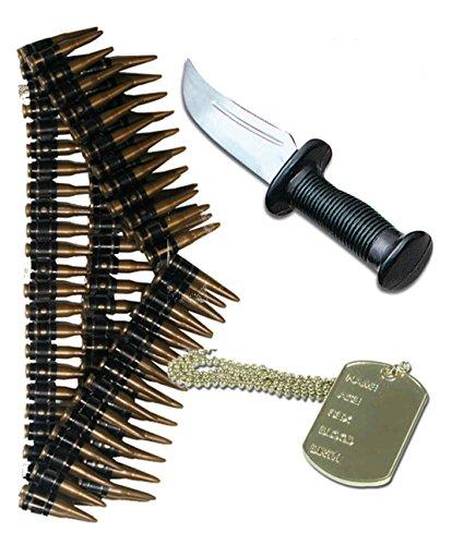 Preisvergleich Produktbild Rambo Herren Army 80er Kostüm Messer Dog Tag & Bullet Gürtel
