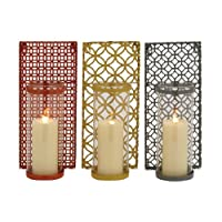 Benzara 55542 The Enclosed 3 Assorted Metal Glass Wall Sconce