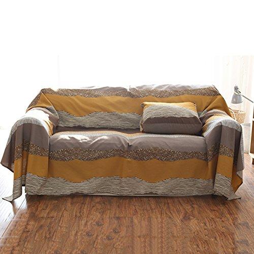 Hm&dx cotone copertura divano slipcover,1-pezzo vintage zebrato copridivano antiscivolo antimacchia protettore di mobili per 1 2 3 4 sedile-caffè 185x350cm(73x138in)