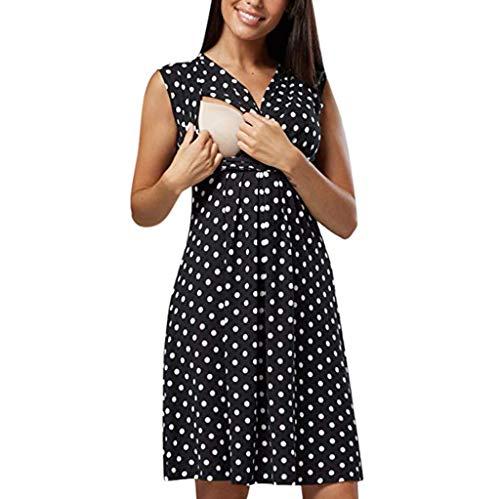 Petite Dot Print (OVINEE Frauen ärmelloses Schwangerschaftskleid Mutterschaftskleid Dot Print Stillen Kleid Mom Shirt Kleidung)