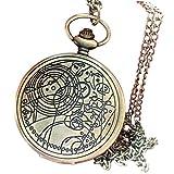 Rosepoem reloj de bolsillo antiguo Reloj de bolsillo Vintage Bronze Doctor Who Reloj de bolsillo retro de cuarzo Números arábigos reloj de bolsillo con cadena para los hombres