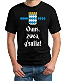 Oktoberfest Wiesn Outfit Herren Shirt - Oans, zwoa, g'suffa! T-Shirt 2X-Large Schwarz