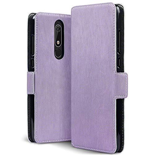 TERRAPIN, Kompatibel mit Nokia 5.1 Hülle, Leder Tasche Case Hülle im Bookstyle mit Standfunktion Kartenfächer - Lila