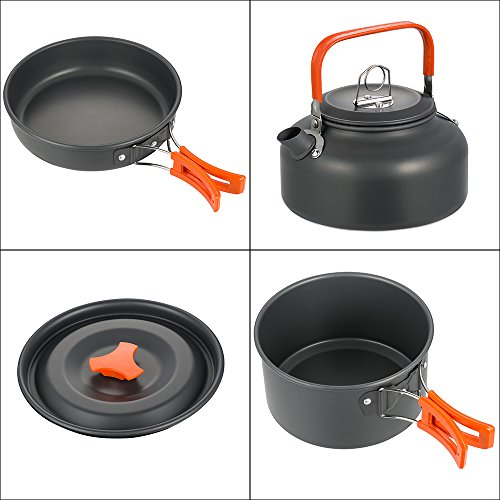 skysper camping pot pan cookware kit outdoor aluminum hiking cooking set travel for bbq picnic. Black Bedroom Furniture Sets. Home Design Ideas