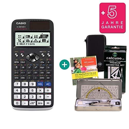 Streberpaket: Casio FX 991 DE X + Schutztasche + Lern-CD + Geometrie-Set + Erweiterte Garantie