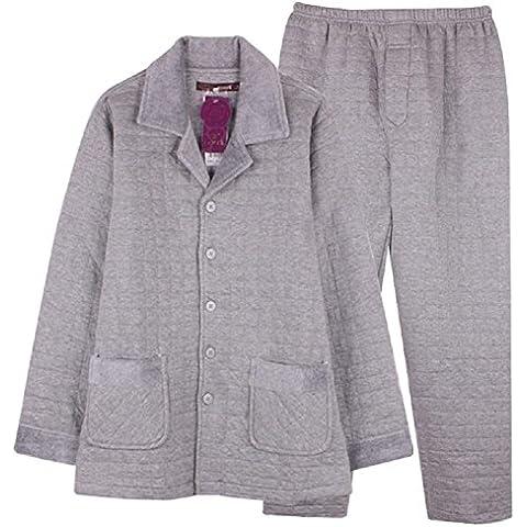LIUDOU Pijamas para hombre Inicio servicio fina carpeta otoño invierno manga larga pantalones de algodón , l