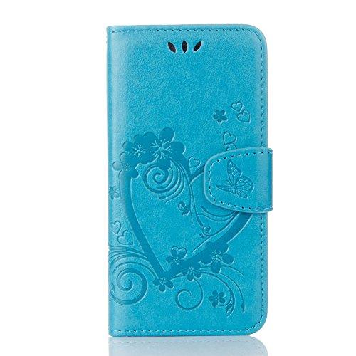 iPhone 6S Hülle Strap PU Lederhülle Flip Case,iPhone 6 [Braun Einfarbig Entwurf] Magnetverschluss Leder Folio Tragetasche Hülle,Herzzer Prämie Elegant Ultra Dünn [Liebe Herzen Blumen Geprägt] Standfun Blau