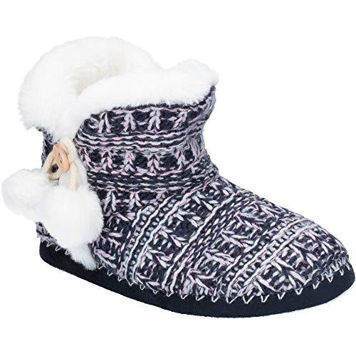Divaz Womens Estonia Chunky Knit Pom Pom Bootie Slippers (Pom Bootie)