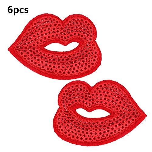 Hyuduo Red Lips Bestickt Patch Verschiedene Stoff Kleidung Motiv Pailletten Verziert Nähzubehör DIY Dekoration Kleidung Nähen Aufkleber Handwerk Zubehör -