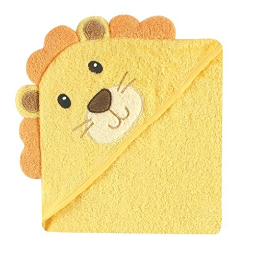 Luvable Friends Woven Terry Animal Faces Hooded Towel (Yellow Lion)