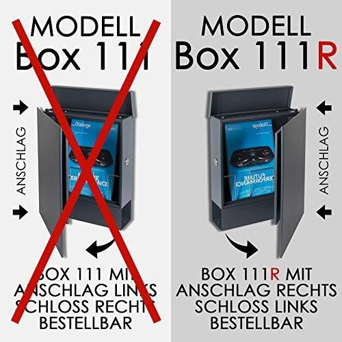 MOCAVI Box 111R Design-Briefkasten mit Zeitungsfach anthrazit-grau (RAL 7016) Wandbriefkasten, Schloss links, groß, Aufputzbriefkasten dunkelgrau, Postkasten anthrazitgrau modern mit Zeitungsrolle - 3