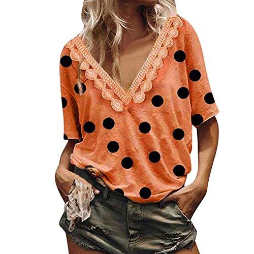 Baifeng Mujer Encaje Cuello en V Lunares Holgado Camisetas Blusa Tops para el Verano - Naranja, X-Large