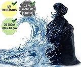 25 XL Premium Sandsäcke | Extra Robust Und Reißfest | Extra UV Beständig / Stabilisiert Und Lange Haltbar | Maße 60 x 40 cm | Sandsack Für Hochwasser Zum Befüllen | Mit Zugband Zum Direkten Zubinden
