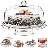 Gr8 Home Multi Functional 6in1 Clear Cake Stand Dome Platter Dip Server Punch Salad Snack Bowl Kitchen Party BBQ Picnic Tray