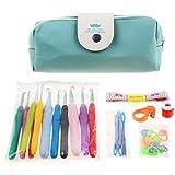 Spring 11pcs Rainbow Crochet Set ergonomic soft rubber ergonomic handle with crochet hooks 19pcs Accessories (Verde)