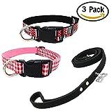 Newtensina Mode 3 Stück Hundehalsband und Leine Set Weich Kariertes Muster Flagge Muster Leinwand Welpen Halsbänder mit Wildleder Leine für Hunde
