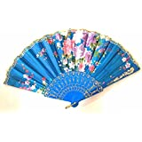 AUM- Lace Trim Colorful, Flower Floral Pattern, Hand Held Folding Bamboo Japanese Silk Hand Fan (Turquoise Blue-L).100% Hand Crafted, Gift Fan For Girls, Women, Wedding Party. Buy 100% Original Imported Hand Fan From Aum Impex Only