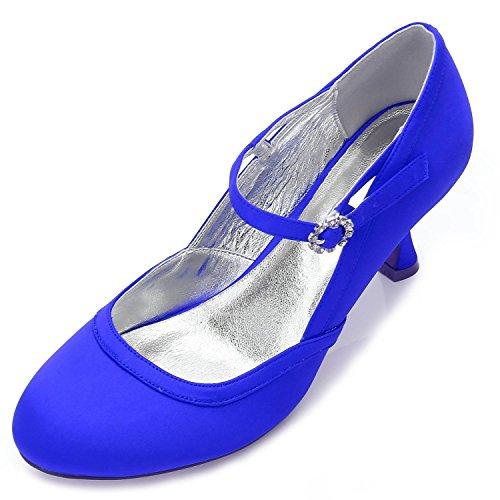 L@YC Scarpe Tacco alto Con Plateau E Tacchi alti Con Fibbie Floreali In Raso Per Donna. G-17061-43 Blue