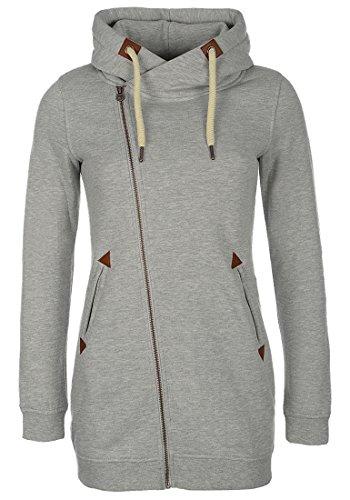 DESIRES Vicky Zip Hood Long Damen Lange Sweatjacke Kapuzenjacke Sweatshirtjacke Mit Kapuze Und Fleece-Innenseite, Größe:XS, Farbe:Light Grey Mel (8242) - Zip-n-griff