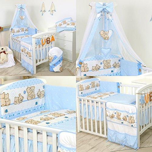 PRO COSMO 11 Piezas juego de ropa de cama para cuna de bebé cama edredón, dosel + soporte (120x60cm, 8 Osos Azules)
